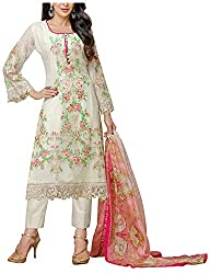 Fashions World Women's Georgette Dress Material (White)