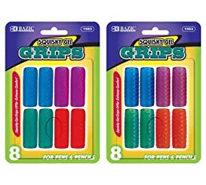 Bazic Squishy Gel Pencil and Pen Grip, Assorted Shapes (Pack of 8)