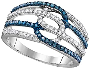 10kt White Gold Womens Round Blue Colored Diamond Band Fashion Ring (.50 cttw.)