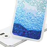 Galaxy S6 Case,S6 Case,ikasus [Slim Fit] Creative Printing Design [Flowing Liquid] Floating Bling Glitter Sparkle Blue Stars Hard Case Cover for Samsung Galaxy S6, Swimming Polar Bear