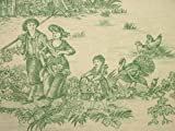 Prestigious Green On Linen Rustic French Toile de Jouy 100 Cotton Upholstery Curtain Shabby Chic Fabric Sold By The Metre