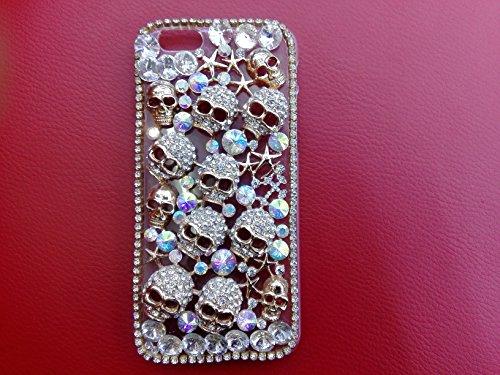 LU2000 Maniac Sugar Skull Decor Bling Handmade 3D Crystal & Rhinestone Snap-on Hard Clear Case for Apple Iphone 6 4.7 Inch