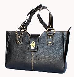 StonKraft Womens Handbag (Black) (LthrShldrBlkBag104)