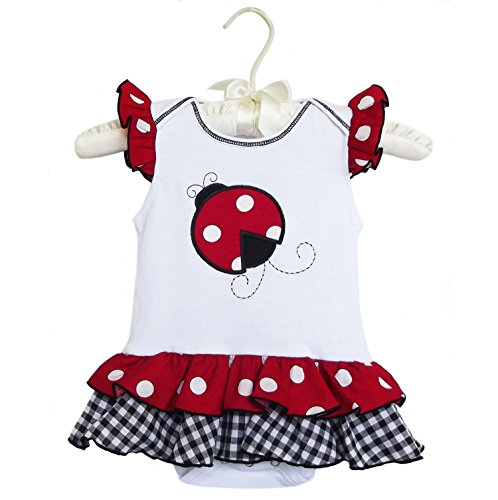 AnnLoren Baby Girls Polka Dot LADYBUG Cotton Onesie Infant Bodysuit