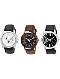 CARTNEY Analog Round Dial Leather Strap Wrist Watch Combo Pack Of 3 Men Watch-CTY-CM-03