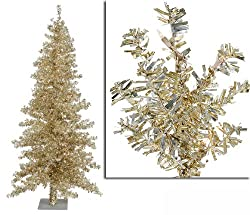 6' Pre-Lit Champagne Wide Cut Tinsel Artificial Christmas Tree - Clear Lights