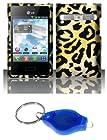 Cheetah Design Case + Atom LED Keychain Light for LG Optimus Logic L35G / Dynamic L38C