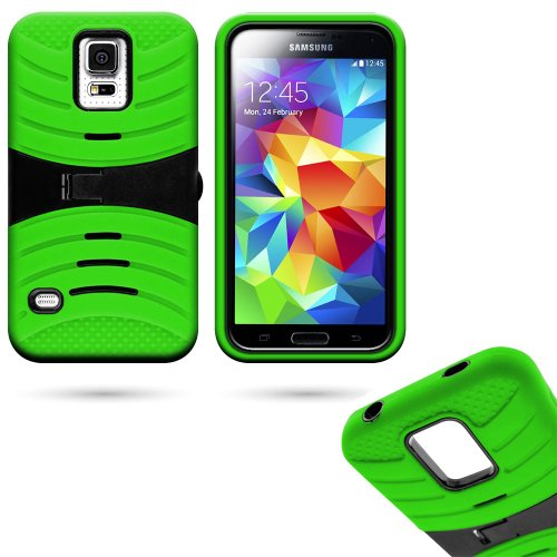 Mylife (Tm) Lawn Green And Dark Matte Black - Shockproof Survivor Series (Built In Kickstand + Easy Grip Ridges) 2 Piece + 2 Layer Case For New Galaxy S5 (5G) Smartphone By Samsung (Internal Flex Silicone Bumper Gel + Internal 2 Piece Rubberized Fitted Ar