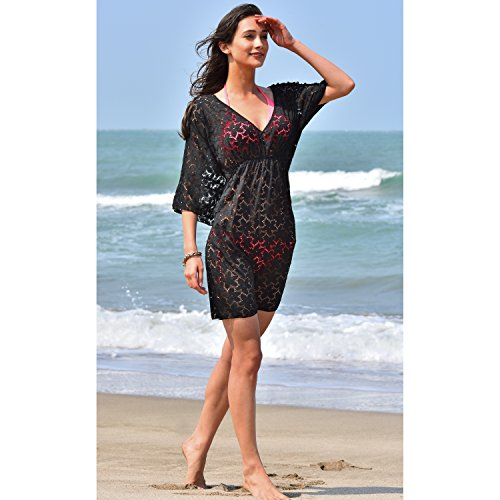 2ebaae8f4c MG Collection® PLUS Size Black Floral Lace Beach Dress   Swimsuit Cover Up