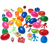 36 Toy Filled Easter Eggs With Pair of Glow Sticks Easter Ears With Foam Easter Theamed Tic-Tac-Toe Game . Eggs Measure 2.5 Inches Filled with Easter Stampers Dinosaur Eggs Tattoos Easter Stickers and More... (Bulk 36 Pack Great for School Easter Egg Hunt)