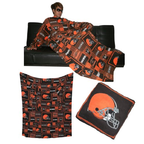 NFL Cleveland Browns Blanket With Sleeves folds into a Pillow Brown & Orange