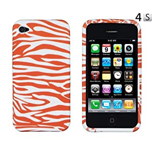 Orange Zebra Striped Flexible TPU Gel Case for Apple iPhone 4, 4S (AT&T, Verizon, Sprint)