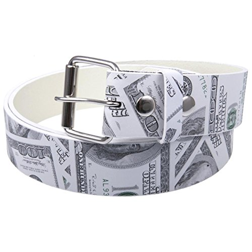 Old Glory - Mens Hundred Dollar Bill Leather Belt Medium White