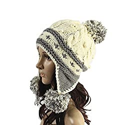 Ibeauti Exquisite Women's Winter Warm Crochet Cap with Ear Flaps Knitted (White)