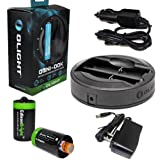 Olight Omni-DOK Universal Battery Charger For 18650 RCR123 AA AAA 16340 17670 14500 with AC adapter and 12V DC (Car) power cords, 2 X EdisonBright AA to D type battery spacer/converters