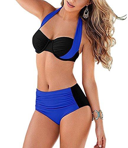 Baddi Women High Waist Padded Push Up Halter Bikini Bra Set Swimsuit (EU(44-46), DARK BLUE)