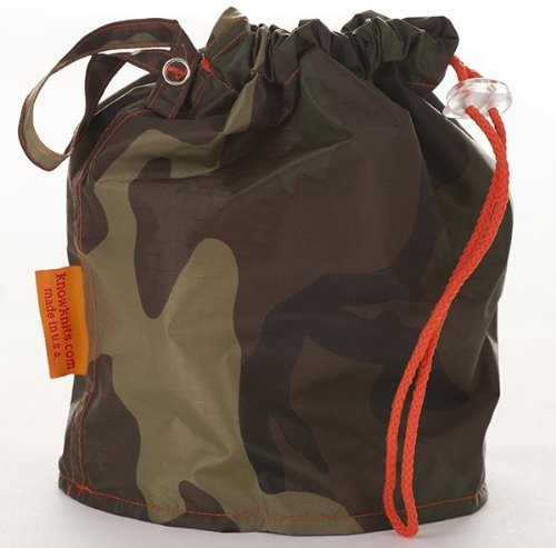 Camouflage Medium GoKnit Pouch Project Bag w/ Loop & Drawstring by KnowKnits