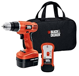 Black  6 Decker Black 6 Decker Black & Decker GCO14SFB 14-Volt Ni-Cad 3/8-Inch Cordless Drill/Driver with Storage Bag and Stud Sensor
