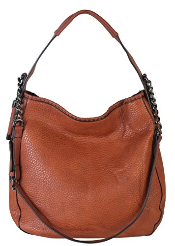 diophy-pu-leather-large-hobo-tote-womens-purse-handbag-accented-chain-zd-2500-brown