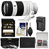 Sony Alpha E-Mount FE 70-200mm f 4.0 G OSS Zoom Lens with 64GB Card + NP-FW50 Battery & Charger + 3 Filters + Kit for A7 - A7R - A7S Digital Cameras