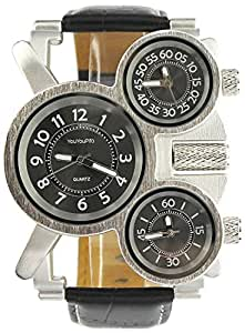 YouYouPifa Trendy Separate 3 Dial Leather Band Stainless Steel Case Quartz Watch (Black)