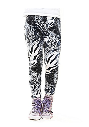 Abstract Animal Design Girls KIDS Leopard Velour Leggings