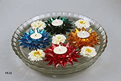 FunRobbers Crystal Floating Flower Rangoli Single colour Tea light candle for Diwali Wedding Decoration Mahalakshmi Pooja Assorted Design and Colour on Availability