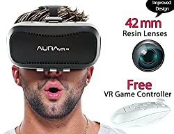 AuraVR Pro VR Headset/Virtual Reality Gear comes with 42mm lenses with Improved Independent Individual Lens adjustment , 100- 110 degree FOV and Free Bluetooth Remote for smart phones is inspired by Google Cardboard, Oculus Rift and Samsung Gear - VR Glasses works with leading android, iOS based smartphone brands like Motorola, Samsung, Xiaomi, ZTE, HTC, Nexus, iphone, Micromax, Lenovo