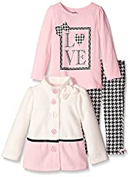 Kids Headquarters Girls\' Cream Pink Jacket with Tee and Pants, Multi, 3T