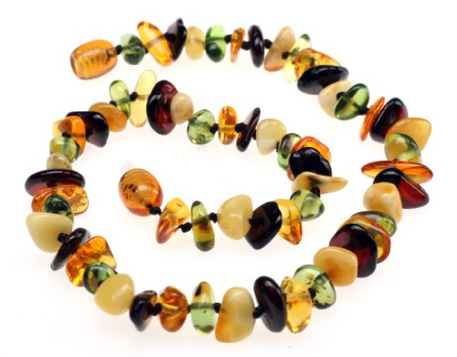 Amberbeata Fall Colors 1 - 100% Certified Genuine All Natural Baltic Amber Teething Necklace (Baltic Sea and Caribbean Amber) Unisex - Anti-inflammatory, Reduces Drooling & Teething Pain