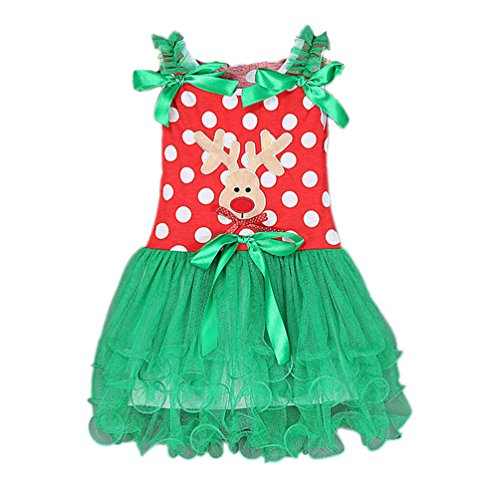 KMFEEL Little Girls' Christmas Polka Dot Bow Tulle Splice Princess Tutu Dress 2T-6T