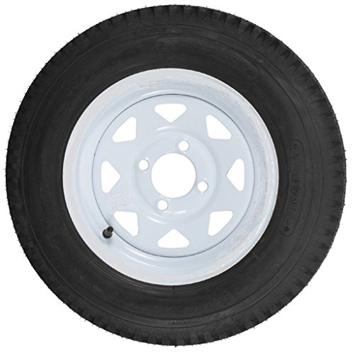 2-Pack Trailer Tires On White Rims 530-12 5.30-12 5.30 x 12 Load C 4 Lug (4 Lugs Rims And Tires compare prices)