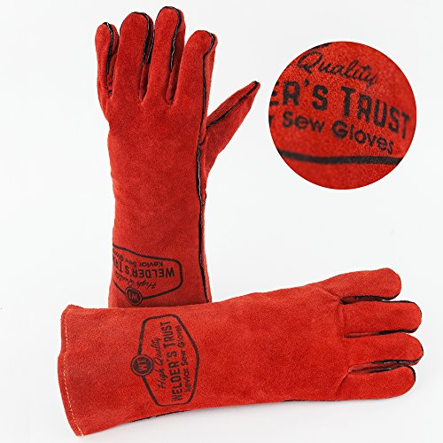 Big Save! Heavy Duty Thick Welding Gloves - Small Size Hands with Long Sleeves - Great for Stick TIG...