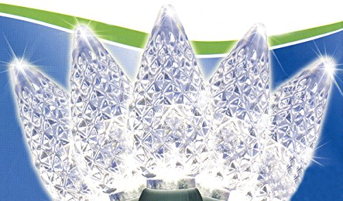 Set Of 50 Faceted Pure White Led C6 Christmas Lights - Green Wire