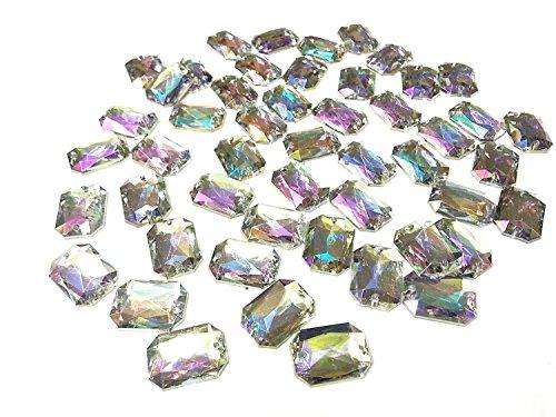 CraftbuddyUS 50 13x18mm SEW on Ab Clear Faceted Rectangle Acrylic Diamante Rhinestone Gems (Sew On Clear Rhinestones compare prices)