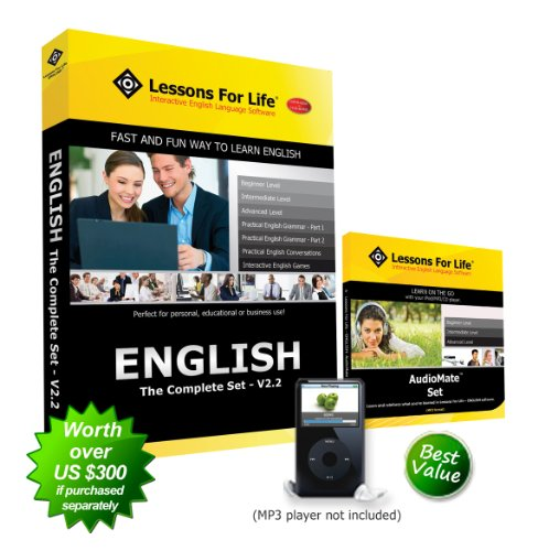Lessons For Life - English (US): THE COMPLETE SET - V2.2 - includes 7 full programs! (Beginner, Intermediate, Advanced, Conversations, Grammar Part 1 & 2, and Games) + AudioMate Set