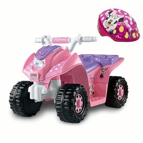 Minnie Mouse 6 Volt 4 Wheeler Quad And Matching Bike Helmet front-591883