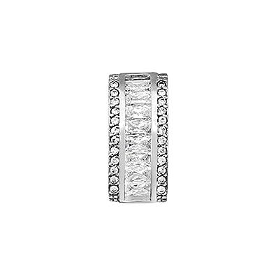 18k white gold pendant 4x2mm baguette cubic zirconia. [AA4783]