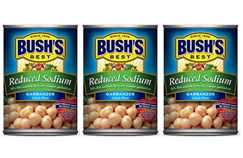 Bush'S Best Reduced Sodium Garbanzo Beans (3 Pack) Each Can 16 Oz. For A Total Of 48 Oz.