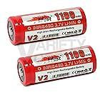 2 Efest IMR 18490 1100mAh 3.7v Rechargeable Button Top Batteries