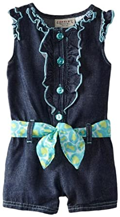 Carter's Watch the Wear Baby-Girls Infant Romper With Ruffles And Cheetah Bow, Medium Blue, 12 Months
