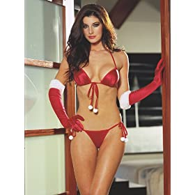Seducing Santa Christmas Gift Red Bra Pantie & Gloves Perfect for the Holidays