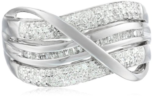 Sterling Silver Diamond Bridge Ring (1/2 cttw), Size 7