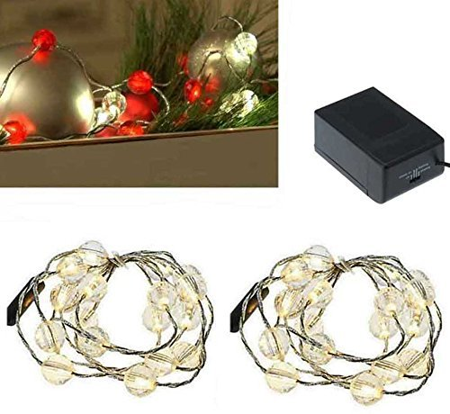 Christmas lights clear jewel beadx18 LED battery-opperated, package of 2 Led Lights Market