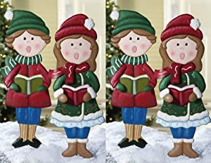 Set of 4 whimscial cute christmas caroler for Outdoor christmas figures