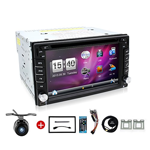 BOSION Navigation product 6.2-inch double din car gps navigation in dash car dvd player car stereo touch screen with Bluetooth usb sd mp3 radio for universal car with backup camera and map card (Radio With Backup Car Camera compare prices)