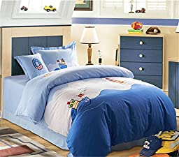 Auvoau Children duvet cover set Kids Bedding Set Organic Cotton 4-piece Kids Duvet Cover Sets (Twin, 8)