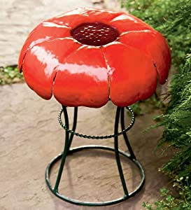 Weather-Resistant Powder-Coated Metal Flower Garden Stools, in Poppy from Hearth Song