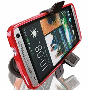 First Rate Car Windshield or Dashboard Adjustable Swivel Suction Mount for HTC Droid DNA / HTC One (M8) / Google Moto X / MOTO G / LG G2, G3 w/ Low Profile Car Kit Holder