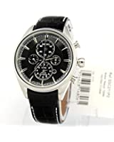 Solar Chronograph Stainless Steel Case Leather Strap Black Tone Dial Alarm Date Display